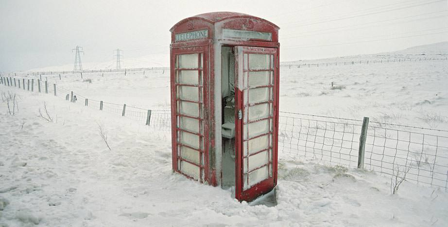 Shap phone box in snow