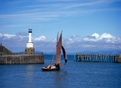 Maryport Harbour - Traditional boat leaving port